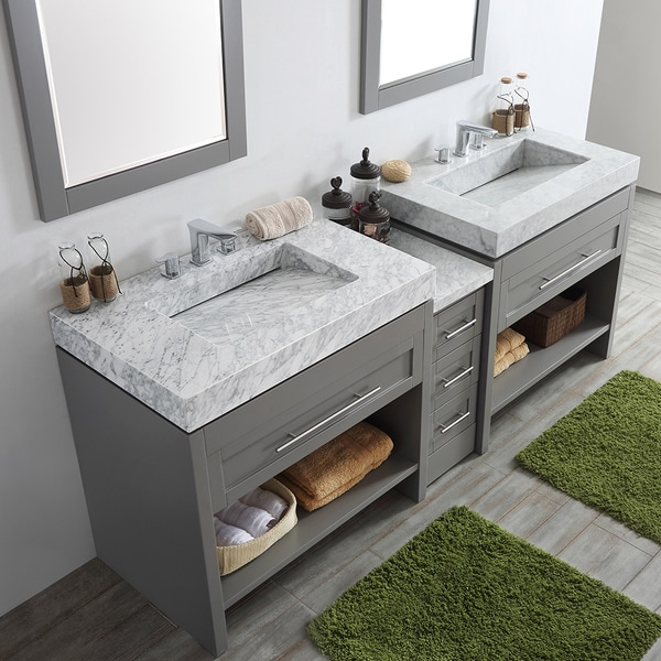 Bolzana Grey 84 Inch Double Vanity With Carrara White Marble Top And Mirrors