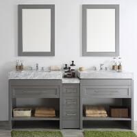 Bolzana Grey 84-inch Double Vanity with Carrara White Marble Top and Mirrors