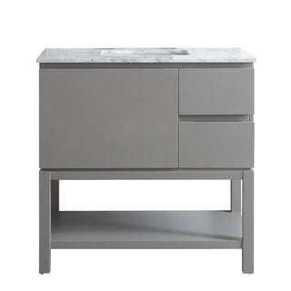 Venzia Grey 36-inch Single-sink Vanity with White Marble Top