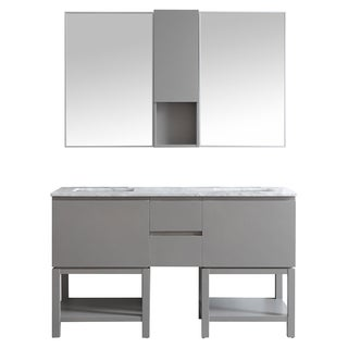 Venzia 60-inch Double Vanity in Grey with Carrara White Marble Top with Mirror
