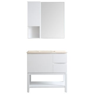 Venzia 36 Inch Single Vanity In White With Creama Marfil Marble Top With  Mirror