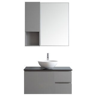 Ferrara 36-inch Single Vanity in Grey with White Vessel Sink with Glass Countertop with Mirror