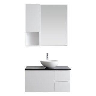 Ferrara White Wood/Glass 36-inch Single Vanity With White Vessel Sink and Mirror