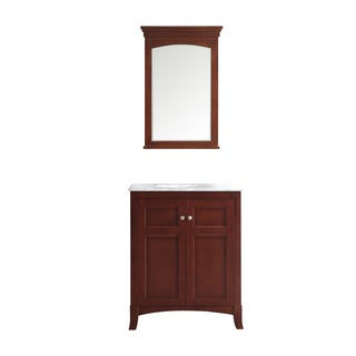 Arezzo Antique Cherry/White Carrara Marble Top 30-inch Single Vanity With Mirror
