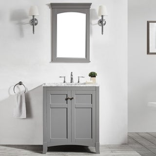 Arezzo 30-inch Grey/White Marble Single Vanity Sink with Mirror