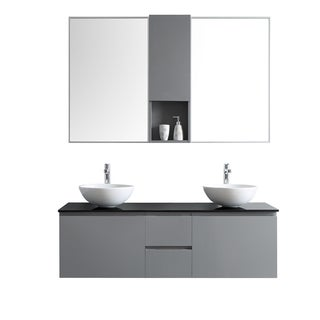 Ferrara 60-inch Glass Countertop Grey Double Vanity with White Vessel Sink and Mirror