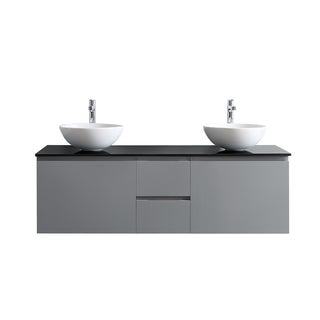 Ferrara Grey 60-inch Double Vanity With White Vessel Sink and Glass Countertop