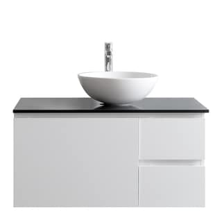 Ferrara 36-inch Single Vanity in White with Vessel Sink and Glass Countertop