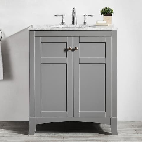 Arezzo 30-inch Single Vanity in Grey with Carrara White Marble Top without Mirror
