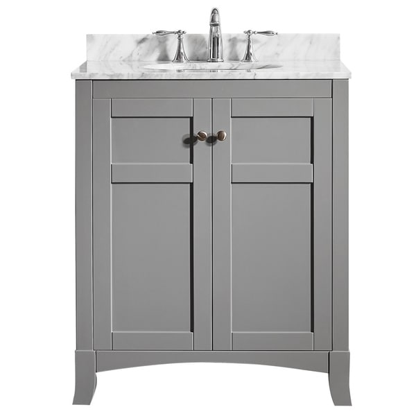 arezzo 30 inch single vanity in grey with carrara white