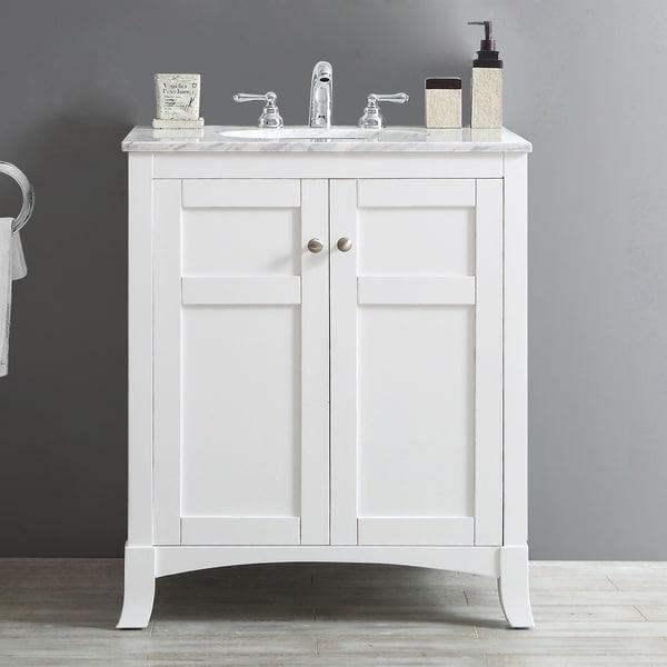 Shop Arezzo White Carrara White Marble Top 30 Inch Single