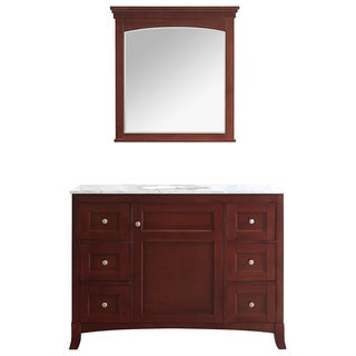 Arezzo Antique Cherry Wood 48-inch Single-sink Vanity with White Marble Top and Mirror