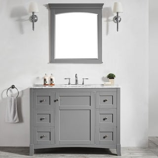 Arezzo Grey Carrara White Marble Top 48-inch Mirrored Single Vanity
