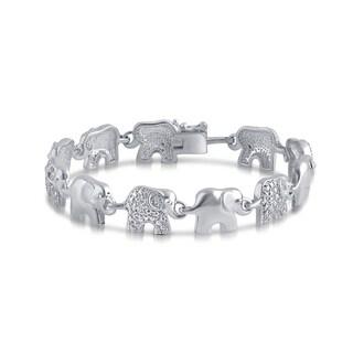 Divina Silver Overlay Diamond Accent Elephant Bracelet
