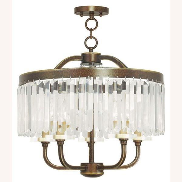 Livex Lighting Ashton 5 Light Hand Painted Palacial Bronze Convertible Chandelier/Ceiling Mount