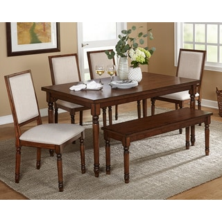Simple Living Vintage Oak 6-Piece Venus Dining Set with Bench