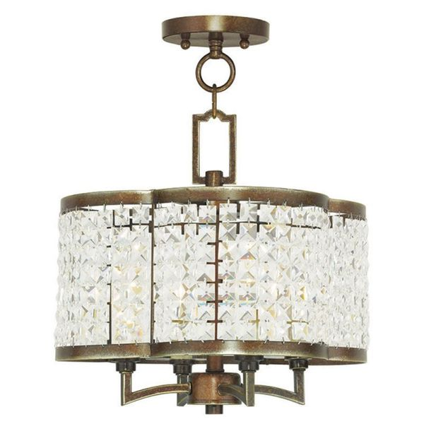 Livex Lighting Grammercy 4 Light Hand Painted Palacial Bronze Convertible Mini Chandelier/Ceiling Mount