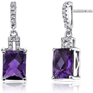 Oravo 14k White Gold Radiant Checkerboard Cut Gemstone Earrings