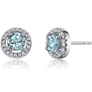 Oravo 14k White Gold Halo Round-cut Gemstone Earrings