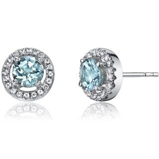Oravo 14k White Gold Halo Round-cut Gemstone Earrings