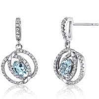 Oravo 14k White Gold Dual Halo Design Gemstone Earrings
