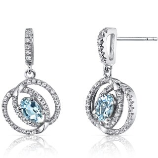 Oravo 14k White Gold Dual Halo Design Gemstone Earrings