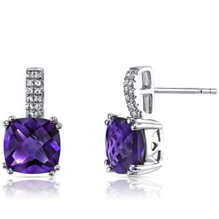Oravo 14k White Gold Cushion Checkerboard-cut Gemstone Earrings|https://ak1.ostkcdn.com/images/products/12365130/P19191288.jpg?impolicy=medium