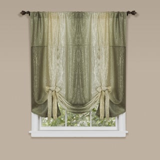 Ombre Polyester Window Curtain with Tie Up Shade