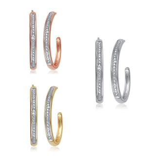 Divina Goldtone Diamond Accent Hoop Fashion Earrings (I-J, I2-I3)