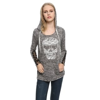Game Of Love Juniors' Polyester/Rayon/Spandex Knit Hooded Sweatshirt with Skull Print and Black Lace Cuffs