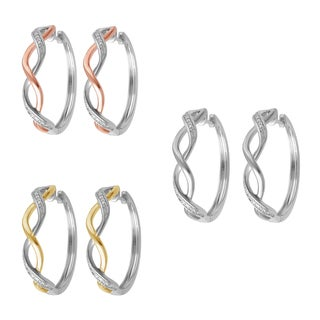 Divina Goldtone Diamond Accent Hoop Fashion Earrings (2 options available)