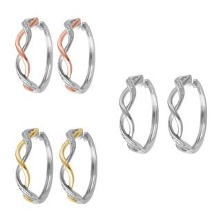 Divina Goldtone Diamond Accent Hoop Fashion Earrings