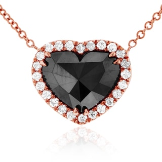 Annello 18k Rose Gold 1 4/5ct Heart Shape Black and White Diamond Necklace (G-H, I1-I2)