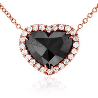Annello by Kobelli 18k Rose Gold 1 4/5ct Heart Shape Black and White Diamond Necklace (G-