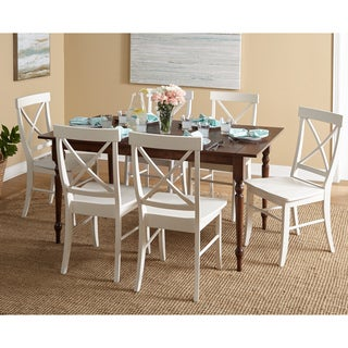Simple Living Denver Walnut Table White Chairs Dining Set