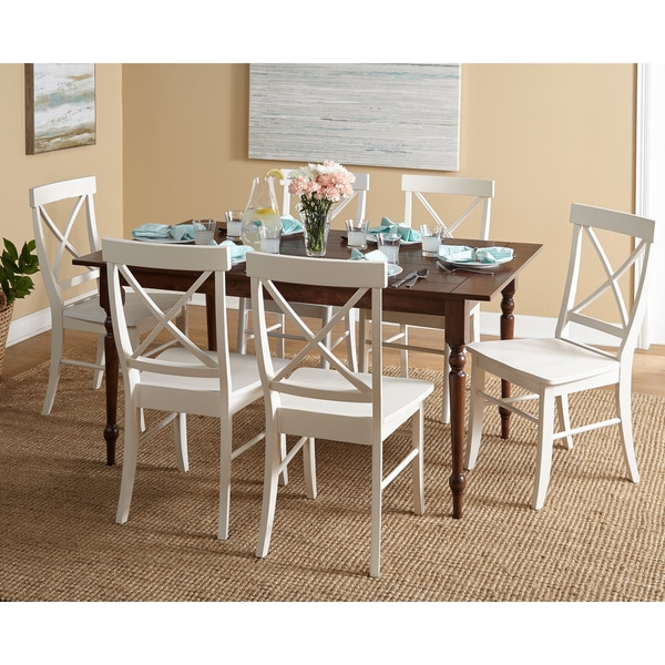 Dining Room Tables Denver: Simple Living Denver Walnut Table White Chairs Dining Set