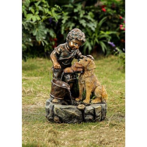 Jeco 'Boy Plays with Dog' Polyresin/Fiberglass Water Fountain