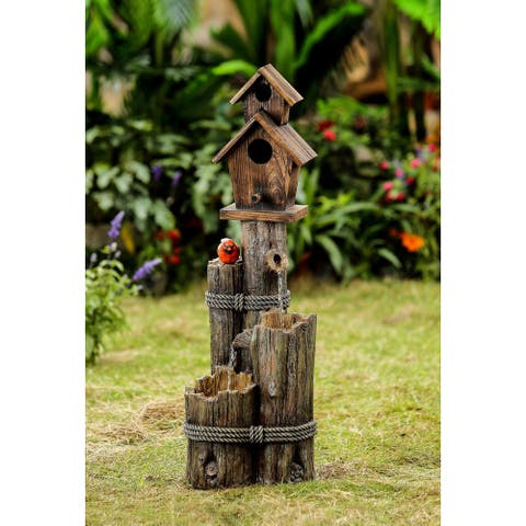 Jeco Wood Finish Tiered Water Fountain and Birdhouse