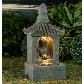 Polyresin/Fiberglass 28-inch Buddha Water Fountain with LED Light