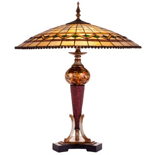 Green/Beige/Brown Resin/Art Glass 28-inch High Tiffany-style Stained Glass Geometrical Table Lamp with Ornate Base