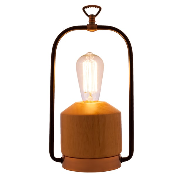 river of goods wellmont wood and iron 13 inch high lantern table lamp free shipping today. Black Bedroom Furniture Sets. Home Design Ideas