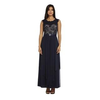 R&M Richards Women's Purple/Blue/Beige Lace Evening Gown