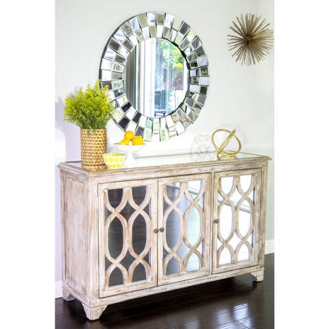 Statements By J Hannah Glass Buffet Console w/ 3 Doors, 32.5 Inch Tall