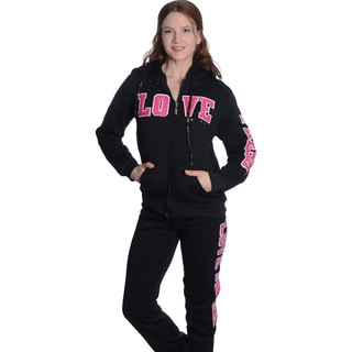 Ladies' Applique-print with Rhinestones Fleece Fur-lined Warm-up Set