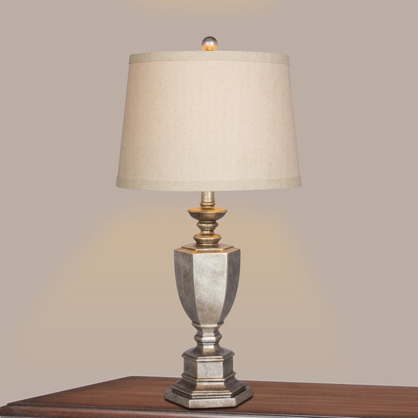 29 in. Resin Table Lamp in Antique Silver