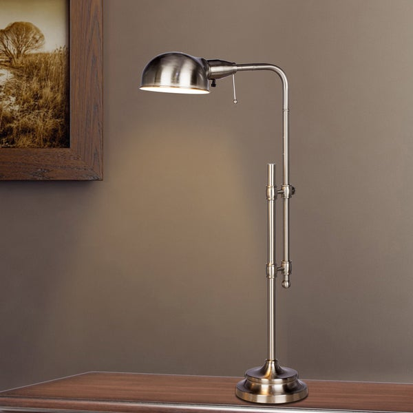 22.75 in. - 29 in. Adjustable Metal Table Lamp In Brushed Steel