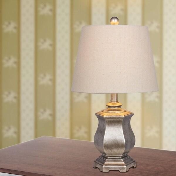 21 in. Resin Table Lamp in Silver Finish