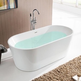 Vanity Art 59 Inch Freestanding White Acrylic Soaking Bathtub