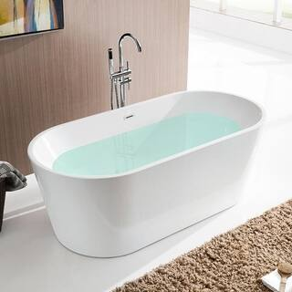Vanity Art 59-inch Freestanding White Acrylic Soaking Bathtub|https://ak1.ostkcdn.com/images/products/12365346/P19191431.jpg?impolicy=medium