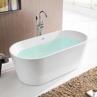 vanity art 59inch white acrylic soaking bathtub